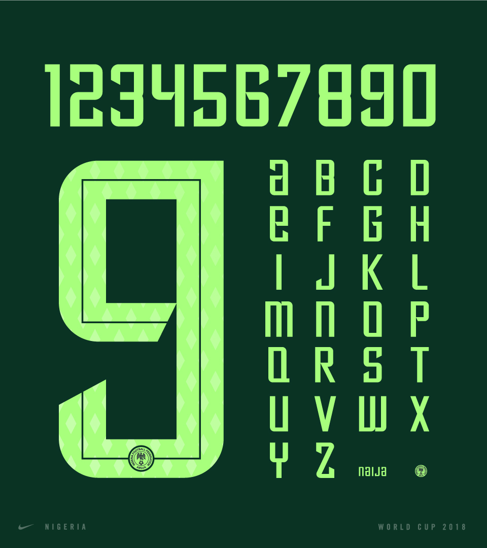 Nigeria World Cup 2018 Name and Number Font, Matthew Wolff, Nike, Typography, Design